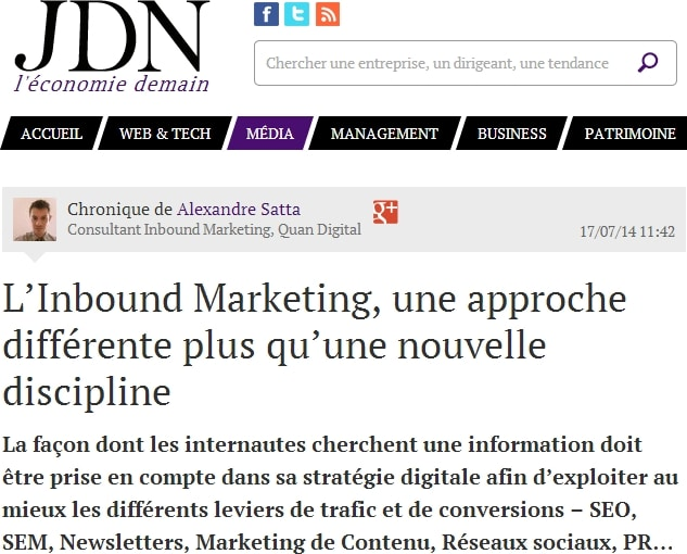 Alexandre Satta et l'Inbound marketing et le marketing de contenu. Il faut de bons copywriters
