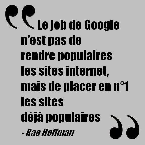 Phrase de Rae Hoffman sur Google reprise par l'Institut du contenu