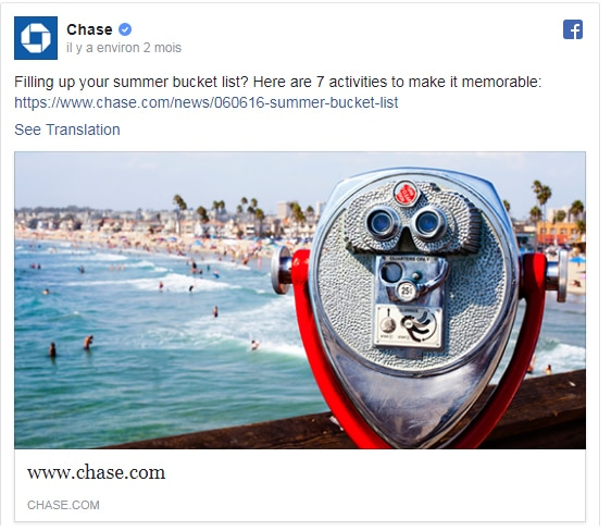 Chase propose des contenus inspirants