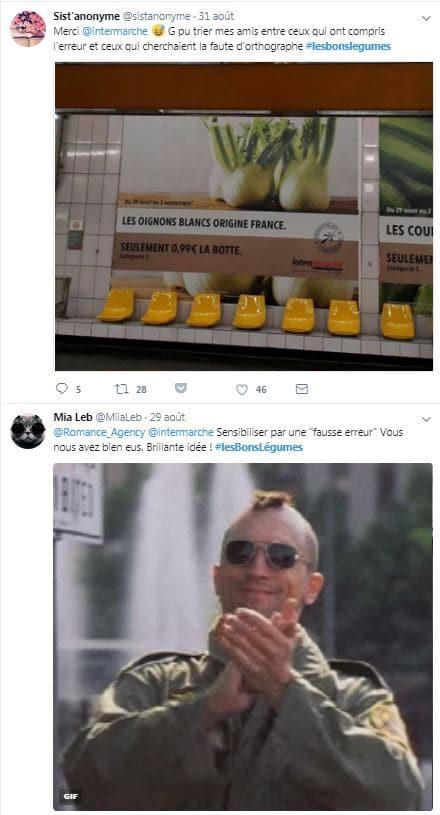 Intermarché : reactions sur twitter à la campagne légumes après la révélation