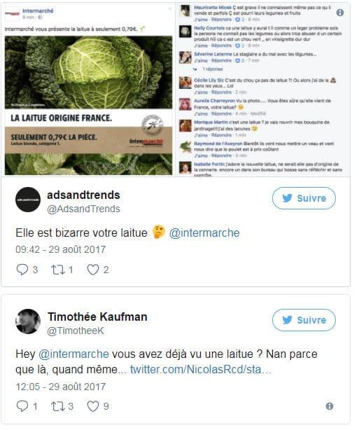 Réactions sur Twitter à la campagne légumes d'Intermarché