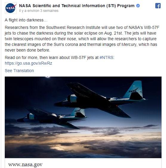 La NASA réagit à l'actualité : ici l'éclipse solaire