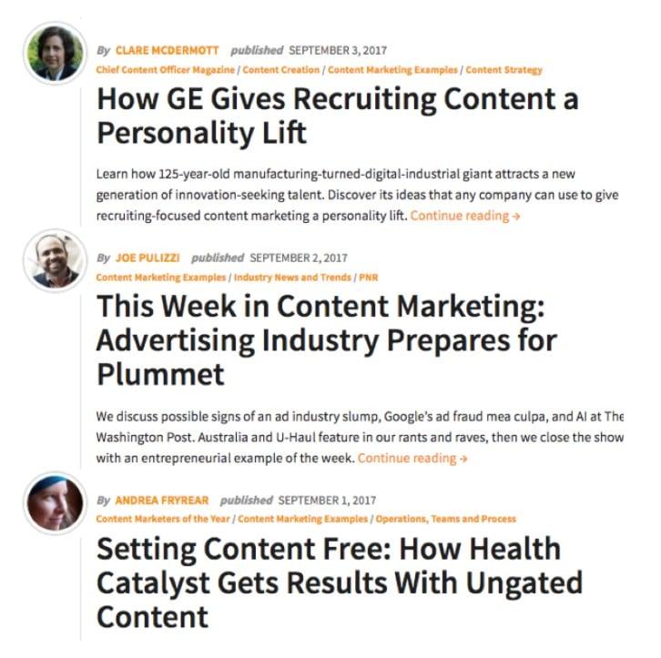 exemples de titres du Content Marketing Institute